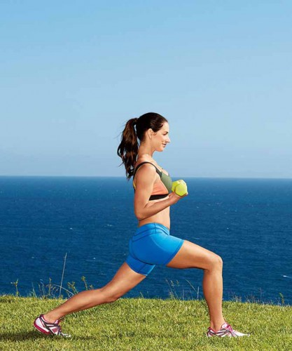 Hot & Healthy Workout: Get a Vacay Body. Perry Hagopian, Celebrity Photographer, Fashion Photographer, - PEOPLE, CELEBRITY, STUDIO,HEALTH, FITNESS, HOW-TO, WORKOUT STEP, Karena Dawn, Hero Lunge step 1